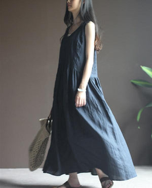 V Neck Loose Sleeveless Long Dresses