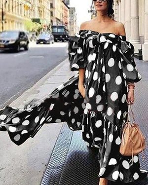 Off-shoulder Polka Dot Maxi Dress For Women