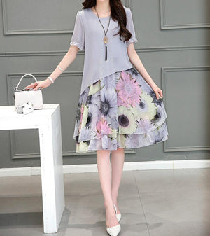 Gray Floral Short Sleeve Midi A-line Dress