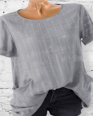 Women Crew Neck Solid Short Sleeve Pockets Plus Size Blouses Tops