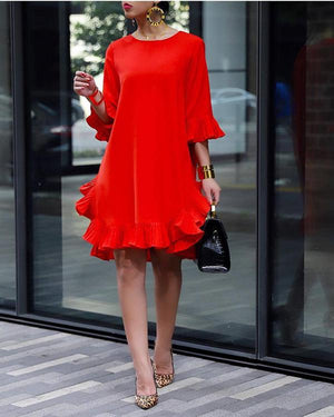 Women Crew Neck Solid Color Flounce Daily Solid Dress
