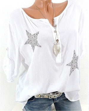 Casual Crew Neck Long Sleeve Star Printed Plus Size Shirts Tops
