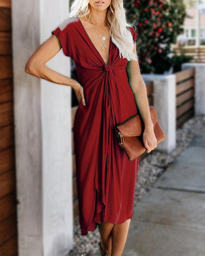 Summer Solid V-neck Twist Pocketed Plus Size Dress