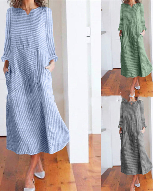 brand new get new 100% genuine Striped Holiday Dresses Long Sleeve Shift Daytime Maxi Dresses
