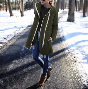 Casual Warm Patchwork Long Stand Collar Coats