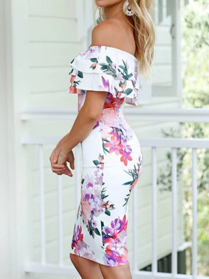 White Floral Print Off Shoulder Bodycon Mini Dress