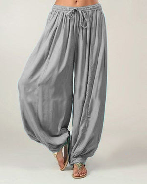Plus Size Solid Color Loose Elastic Band Wide Leg Pants