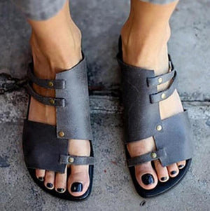 Plain Flat Peep Toe Casual Sandals Slippers