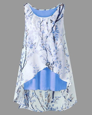 Women Floral Printed Sleeveless Plus Size Vest Tops