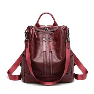 Women Solid Travel Leisure Soft Leather Multi-function Backpack Large Capacity Shoulder Bag
