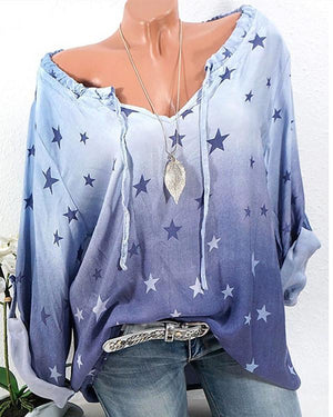 Star Print Casual Plus Size V Neck Blouse