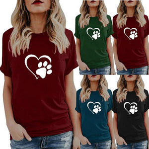 Plus Size Crew Neck Heart Print Casual Short Sleeve T-Shirts