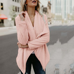 Shawl Collar Casual Asymmetrical Long Sleeve Solid Coat