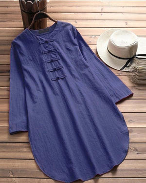 Women Tops Plus Size Casual Chinese Button Half Sleeve Linen Dress Shirt
