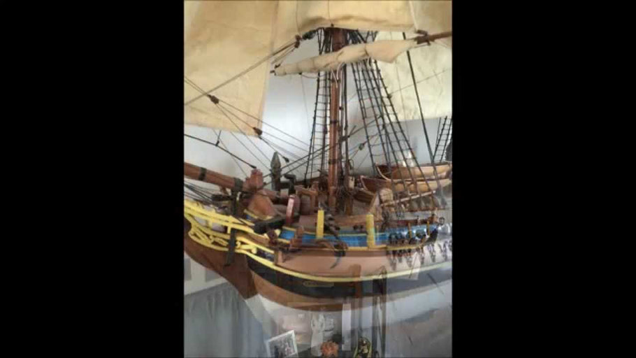 Display cabinet build for model of HMS Bounty.