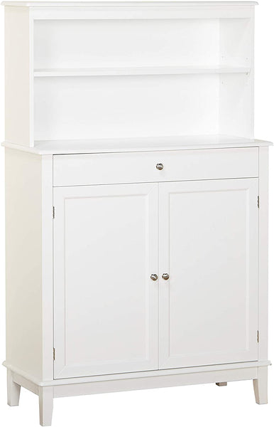 The Mezzanine Shoppe Farmhouse Mid Century 2 Door 1 Drawer Dining Room Buffet with Hutch, 36″, White $150.79
