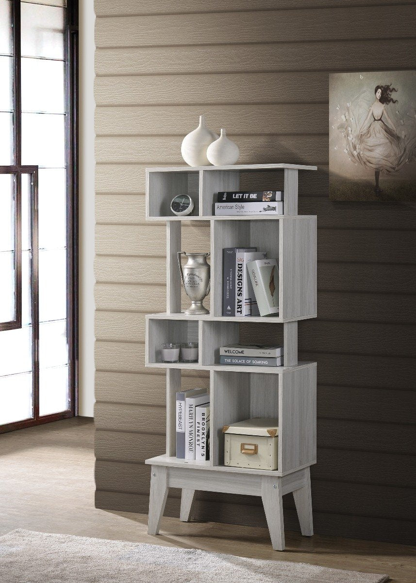 Display Shelf Cabinet In White Oak