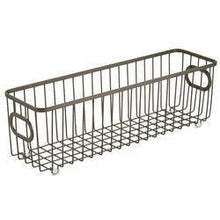 Load image into Gallery viewer, Amazon best mdesign metal farmhouse kitchen pantry food storage organizer basket bin wire grid design for cabinets cupboards shelves countertops holds potatoes onions fruit long 4 pack bronze