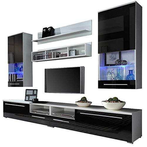 Domovero Kansas Wall Unit meble furniture & rugs/Contemporary Furniture for Living Room/Entertainment Center with multicolor LED lights system Color white & black