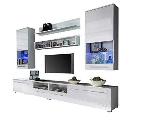 Domovero Kansas Wall Unit for any size TV/Contemporary Furniture for Living Room/Entertainment Center with multicolor LED lights system Color white & white