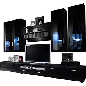 Domadeco Presto TV Entertainment Center/TV Units Modern Furniture Media Stands Color (Black and Black)