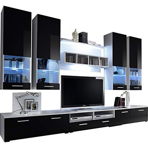 Dorido Wall Unit TV Contemporary Furniture/Modern Entertainment Center with LED lights Color (White & Black)