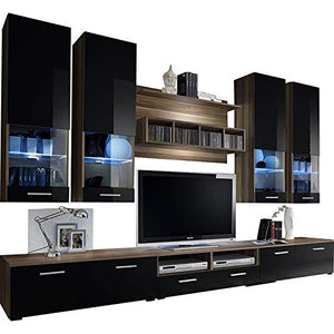 Dorido Wall Unit TV Contemporary Furniture/Modern Entertainment Center with LED lights Color (Plum & Black)