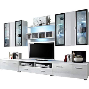 Domadeco Malmo TV eentertainment Center Wall Unit/Large tv Stands/Modern Media Console Color (White & White)