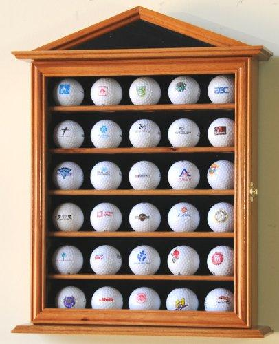 30 Golf Ball Designer Display Case Cabinet Holder Wall Rack -Oak