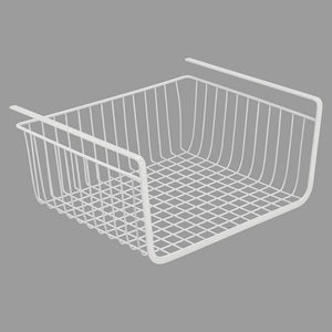 Selection mdesign household metal under shelf hanging storage bin basket with open front for organizing kitchen cabinets cupboards pantries shelves large 2 pack white