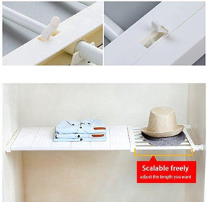 Exclusive hyfanstr adjustable storage rack expandable separator shelf for wardrobe cupboard bookcase compartment collecting length 28 7 51 width 11 8 khaki