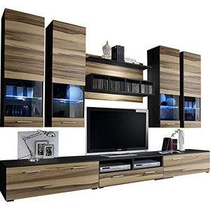 Dorido Wall Unit TV Contemporary Furniture/Modern Entertainment Center with LED lights Color (Wenge & Baltimore)