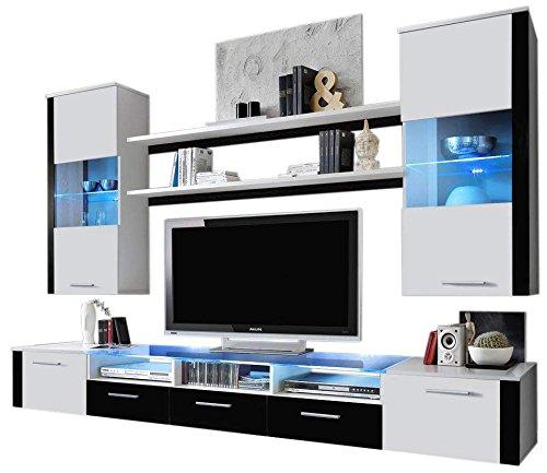 Ferio Modern Wall Unit/Contemporry unique Wall Unit for living room – with multicolor LED lights (White & White)