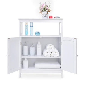 Save on iwell bathroom floor storage cabinet with 1 adjustable shelf 3 heights available free standing kitchen cupboard wooden storage cabinet with 2 doors office furniture white ysg002b