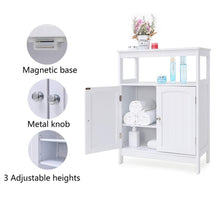 Load image into Gallery viewer, Results iwell bathroom floor storage cabinet with 1 adjustable shelf 3 heights available free standing kitchen cupboard wooden storage cabinet with 2 doors office furniture white ysg002b