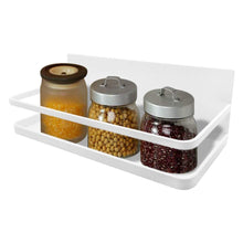 Load image into Gallery viewer, Save on spice rack monoled spice rack organizer magnetic single tier fridge spice rack shelves organizer space saving storage rack for refrigerator kitchen cabinet cupboard pantry door seasonings white