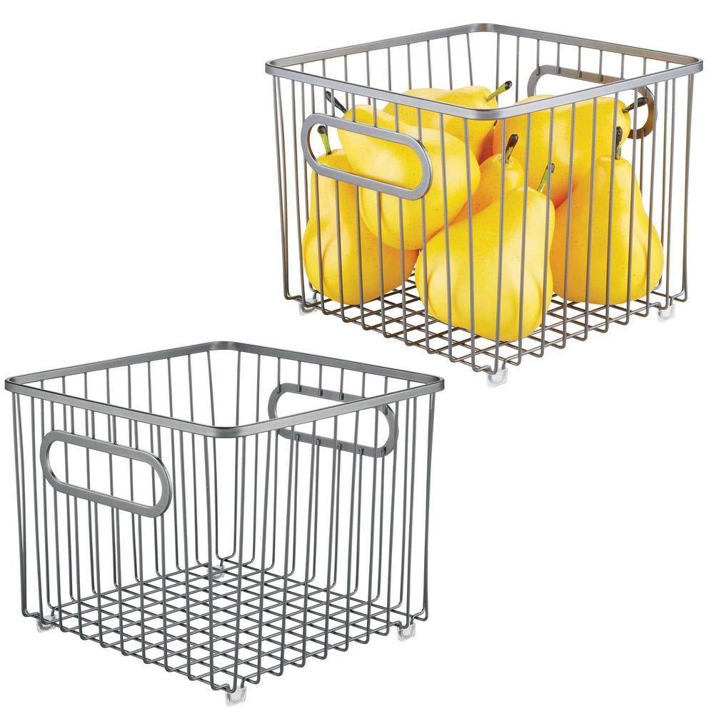 Discover the best mdesign metal farmhouse kitchen pantry food storage organizer basket bin wire grid design for cabinet cupboard shelf countertop holds potatoes onions fruit square 2 pack graphite gray