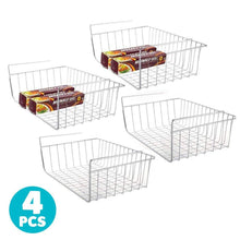 Load image into Gallery viewer, Shop 4pcs 15 8 under shelf basket storage wire rack organizer for cabinet thickness max 1 2 inch extra storage space on kitchen counter pantry desk bookshelf cupboard anti rust stainless steel rack