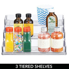 Load image into Gallery viewer, Shop mdesign plastic spice and food kitchen cabinet pantry shelf organizer 3 tier storage modern compact caddy rack holds spices herb bottles jars for shelves cupboards refrigerator clear