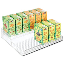 Load image into Gallery viewer, Explore mdesign plastic kitchen food storage organizer shelves spice rack holder for cabinet cupboard countertop pantry holds spices jars baking supplies canned food pasta 2 levels 12 w clear