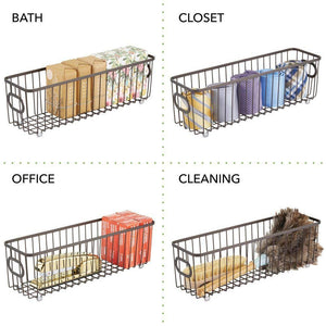 Try mdesign metal farmhouse kitchen pantry food storage organizer basket bin wire grid design for cabinets cupboards shelves countertops holds potatoes onions fruit long 4 pack bronze
