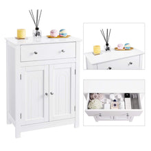 Load image into Gallery viewer, Try vasagle free standing bathroom cabinet with drawer and adjustable shelf kitchen cupboard wooden entryway storage cabinet white 23 6 x 11 8 x 31 5 inches ubbc61wt