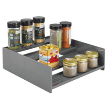 Load image into Gallery viewer, Organize with mdesign plastic kitchen spice bottle rack holder food storage organizer for cabinet cupboard pantry shelf holds spices mason jars baking supplies canned food 4 levels 2 pack charcoal gray