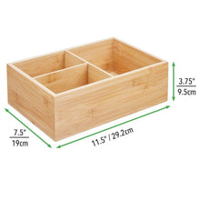 Load image into Gallery viewer, Exclusive mdesign bamboo wood kitchen storage bin organizer for food container lids and covers use in cabinets pantries cupboards large divided organizer with 3 sections 2 pack natural