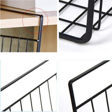 Load image into Gallery viewer, Top esupport under shelf storage basket hanging under cabinet wire basket organizer rack dormitory bedside corner shelves for kitchen pantry desk bookshelf cupboard