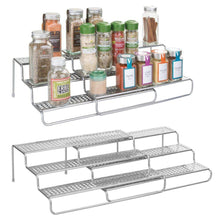 Load image into Gallery viewer, Amazon mdesign adjustable expandable kitchen wire metal storage cabinet cupboard food pantry shelf organizer spice bottle rack holder 3 level storage up to 25 wide 2 pack silver