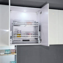 Load image into Gallery viewer, Top rated kitchen pull down 2 tier wire shelf shelves steel wall unit storage organizer system cabinet for 800mm width cupboards