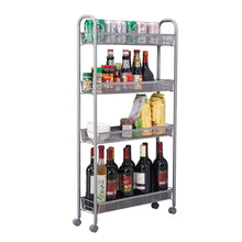 Load image into Gallery viewer, Amazon best dalilylime 4 tier removable storage cart gap kitchen slim slide out storage tower rack with wheels cupboard with casters silver 4 layers 420s