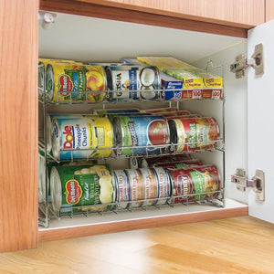 Purchase sorbus can organizer rack 3 tier stackable can tracker pantry cabinet organizer holds up to 36 cans great storage for canned foods drinks and more in kitchen cupboard pantry