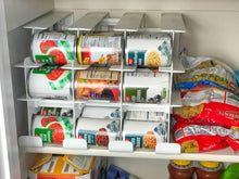 Load image into Gallery viewer, Shop fifo can tracker stores 54 cans rotates first in first out canned goods organizer for cupboard pantry and cabinet food storage organize your kitchen made in usa